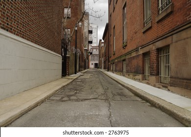 A decrepit back alley in Philadelphia, PA.