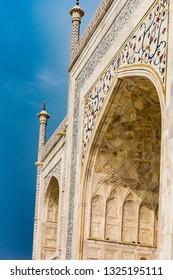 Decrorative designs on marble walls of the Taj Mahal.