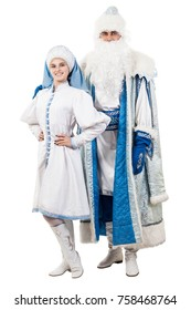Ded Moroz and Snegurochka isolated on white.