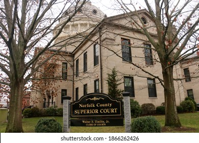 Dedham, MA - November 27 2020: Exterior of the Norfolk County Superior Court