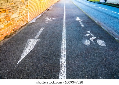 Dedicated track for cyclists. On the asphalt road, the markings indicate bicycles.