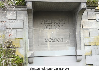 The dedication plaque for the Fremont Bridge, Seattle