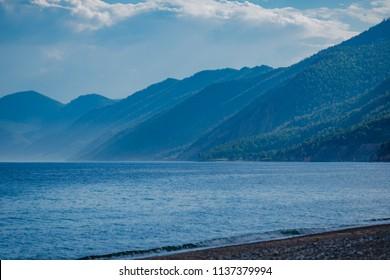 Deep baikal lake blue sea