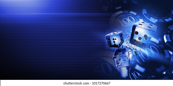 Deep Blue Casino Craps Dices Banner Background 3D Rendered Illustration with Copy Space. Casino Gambling Backdrop.