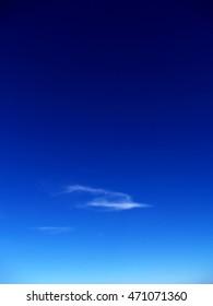 The deep blue clear sky Ukrainian Carpathians.