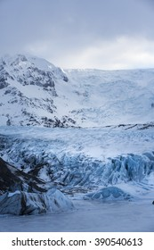 Deep blue colour of Svinafell Glacier in Skaftafell National Park, Iceland