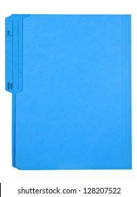 Deep blue file folder isolated on white.