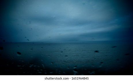 Deep Blue Heavy Weather with raindrops on my window