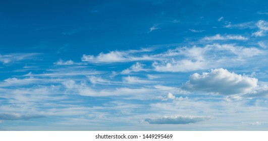 Deep blue sky background with beautiful white clouds