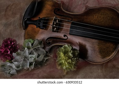 Deep brown violin with flowers on a watercolor background