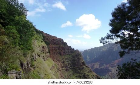 Deep canyon in the mountains, Kauai, Hawaii