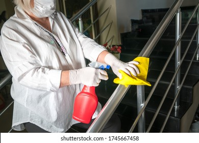 Deep cleaning for Covid-19 (corona  irüs) disease prevention. For safety, spray alcohol, disinfectant on the cleaning cloth wipes in places that are frequently touched at the hotel.