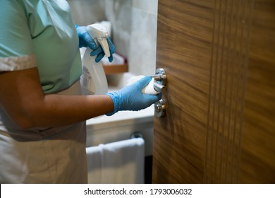 Deep cleaning for Covid-19 (Coronavirüs, Pandemic) disease prevention. For safety, spray alcohol, disinfectant on the cleaning cloth wipes in places that are frequently touched at the hotel.