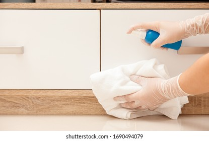Deep cleaning disinfect for Covid-19 disease prevention. alcohol,disinfectant spray on Wipes of Housewares in home for safety,infection of Covid-19 virus,germs,bacteria that are frequently touched .