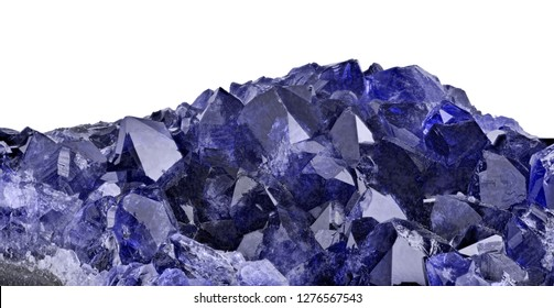 deep color blue sapphire gemstone isolated on white background