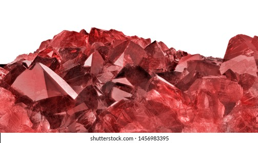 deep color ruby gemstone isolated on white background