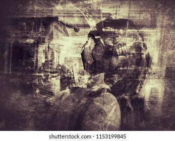 deep conceptual grungy abstract image with overlap multi exposure effect use for background backdrop
