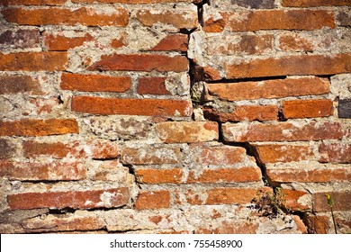 Deep crack in old brick wall - concept image with copy space
