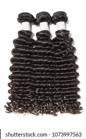 Deep curly black human hair weaves extensions bundles