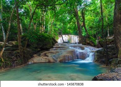 Deep forest Erawan Waterfall, Kanchanaburi, Thailand