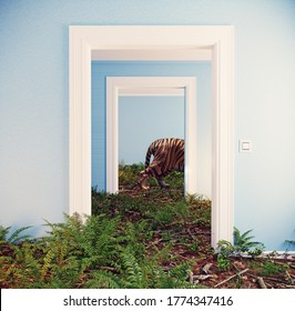 deep forest floor in the room interior. Photomanipulation conceptual design