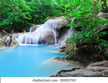 Deep forest waterfall at Erawan waterfall National Park Kanjanab