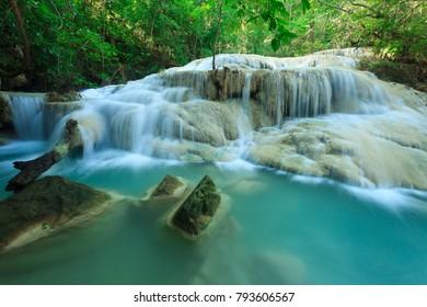 Deep forest waterfall at Erawan waterfall National Park Kanjanab