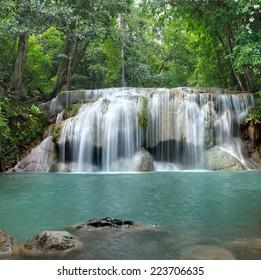 Deep forest waterfall at Erawan ( second step ) waterfall National Park, Kanchanaburi, Thailand