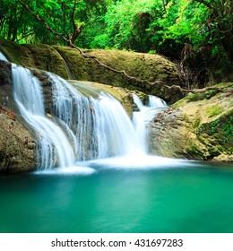 Deep forest waterfall in Huay Mae Kamin Kanjanaburi Thailand