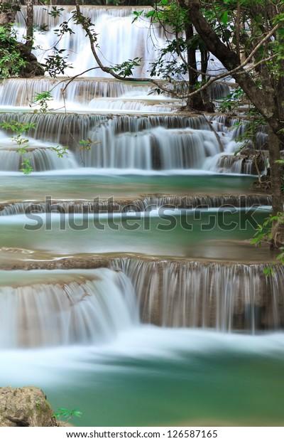 Deep forest waterfall at Huay Mae Kamin National Park Kanjanaburi Thailand
