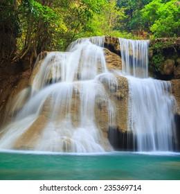 Deep forest Waterfall in Kanchanaburi (Huay Mae Kamin), Thailand