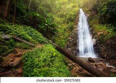 Deep forest waterfall (Khunkorn Waterfall), Chiang rai province, Thailand.
