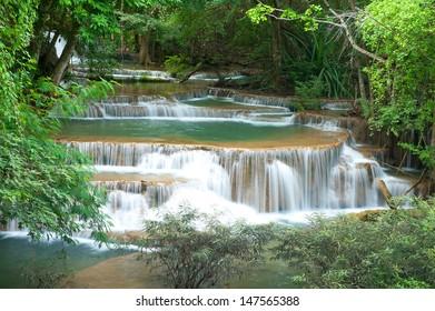 Deep forest waterfall at Mae Khamin waterfall National Park Kanjanaburi Thailand