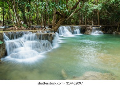 Deep forest waterfall in national park Thailand(Waterfall Huay Mae Kamin)