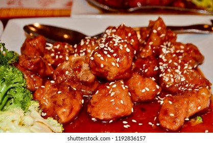 Deep fried chicken in spicy sauce ( Chinese  food called General Tso's chicken)