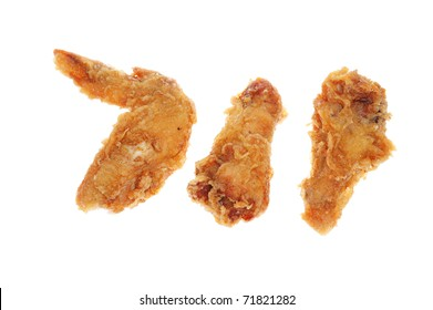 Deep Fried Chicken Wings Isolated On White Background