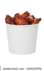 Deep fried chicken wings in take out bucket isolated on white background
