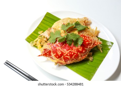 Deep fried crab meat and minced pork in crab shell  ( Poo Ja )