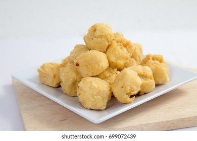 Deep fried crispy crisp tofu breaded with corn flake crumbs flour
