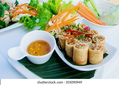 Deep fried crispy spring rolls on a white plate with sweet plum sauce and fresh vegetables