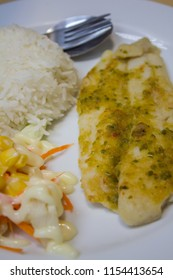 Deep Fried Dolly Fish Steak with Chili Pepper sauce hot and spicy delicious and rice thai food style.