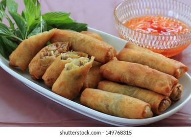 Deep Fried Eggroll Thai-Chinese food.