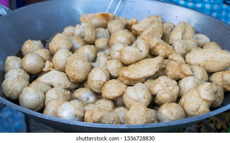 Deep fried fishball ball in the hot pan, street food in Thailand