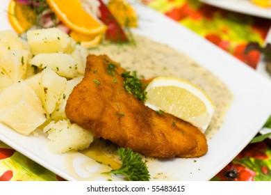 Deep fried fresh Cod Fish with Potato and Sauce