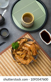 deep fried japanese burdock gobo flat lay