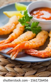 Deep fried Japanese  King Prawn (Tiger Prawn) Tempura served with chilli sauce and lime.