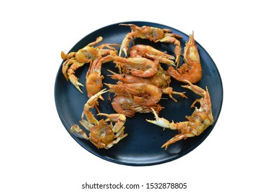 deep fried little swimming crab and shrimp with flour on plate
