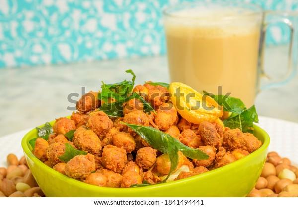 Deep Fried Masala Peanuts with Tea as evening snacks