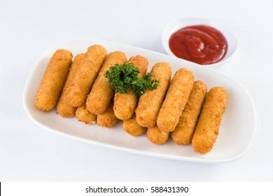 Deep Fried Mozzarella Cheese Sticks with Ketchup