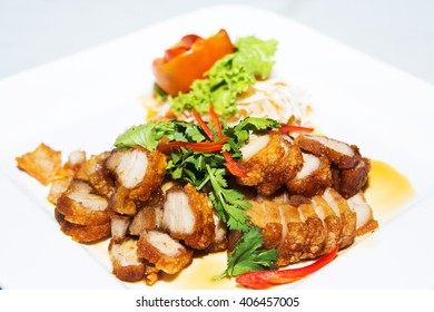 deep fried pork belly with liver sauce